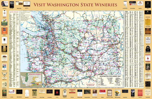 Washington State Winery Map   Sunnyslope Washington     mappery Fullsize Washington State Winery Map