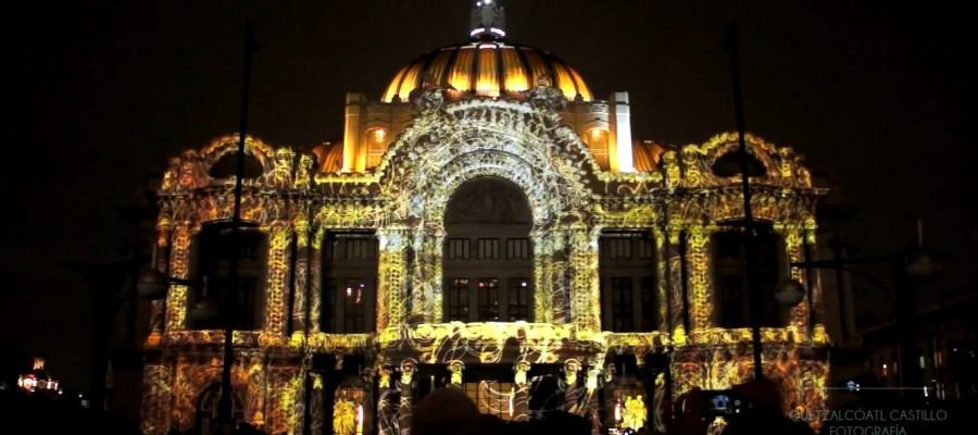 Красочный 3D mapping на фасаде Дворца изящных искусств
