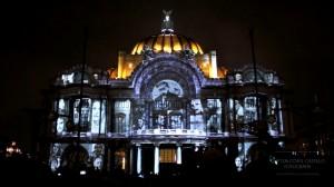 Архитектурный видеомэппинг на фасаде Дворца изящных искусств