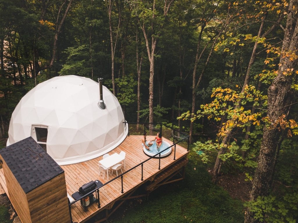 domes charlevoix drone shot outdoor cabin