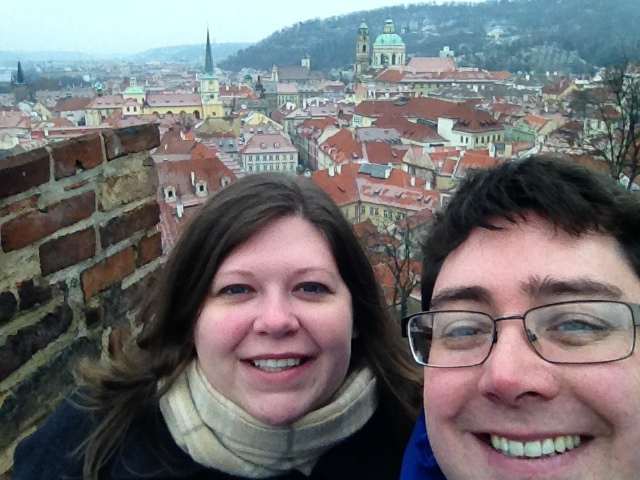 Lance & Laura of The Travel Addicts.  Prague Castle, Czech Republic.
