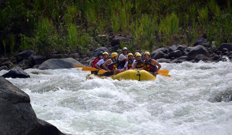 Rafting up to a class 4 rapid.