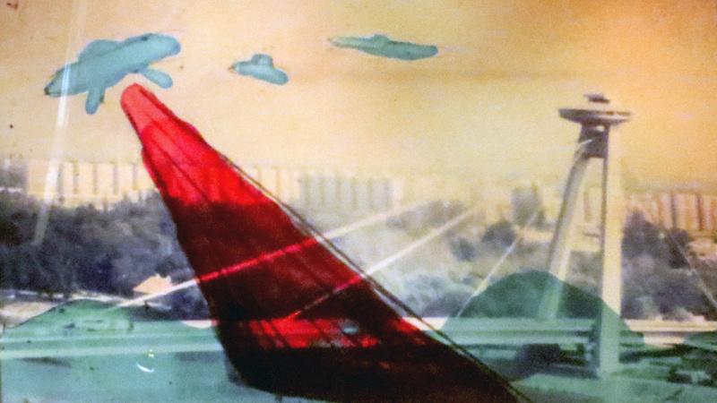 The UFO Bridge, with Petržalka's apartment blocks in the background, captures artistic imagination.