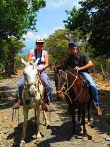 Horseriding through volcanic landscape.