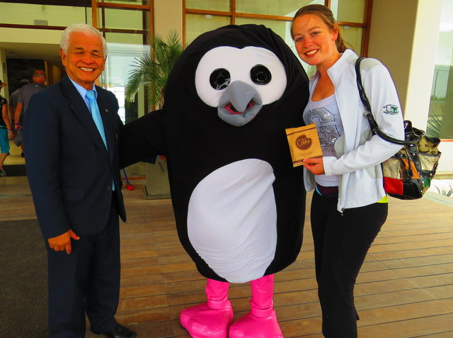 Welcome from the property mascot on arrival! Paco the Penguin.