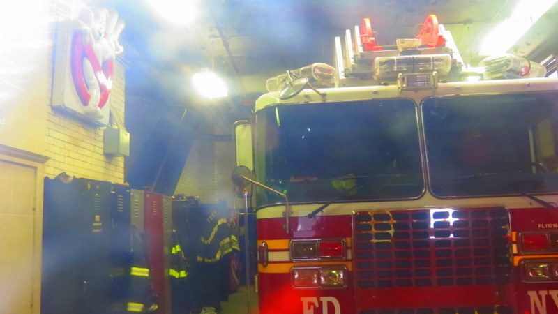 Inside the Hook & Ladder 8 - the functioning fire station proudly displays the Ghost Busters logo!