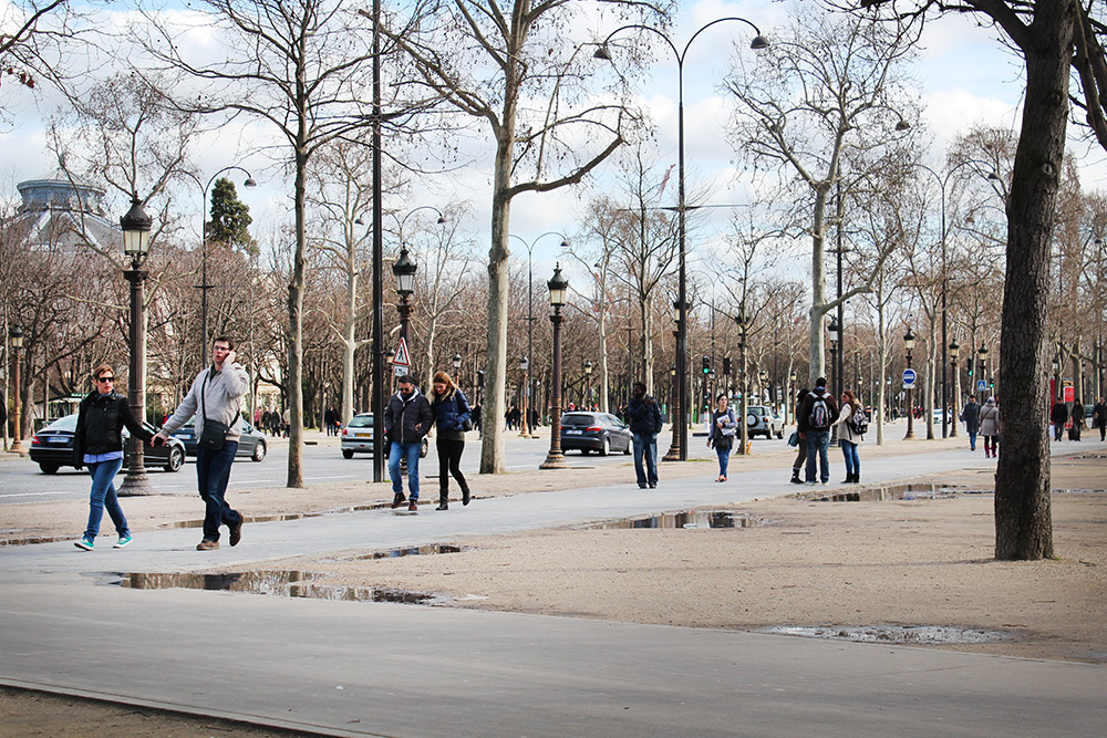 The Champs Elysees looking a little dreary.