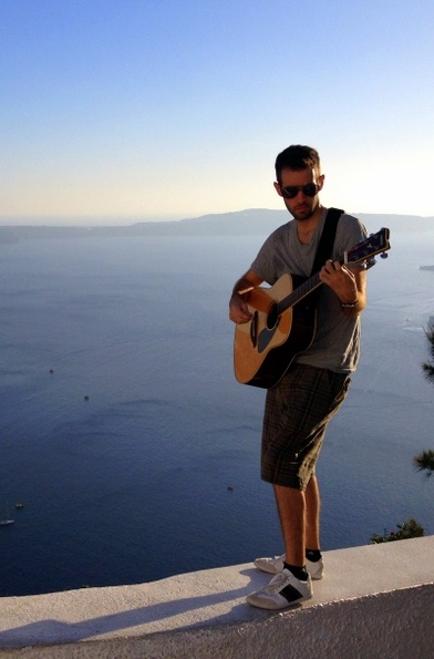 Mike Mentz, Songwriting in Santorini, Greece.