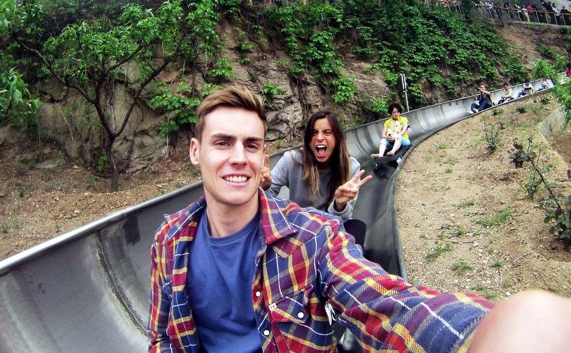 Tobogganing down the Great Wall of China.
