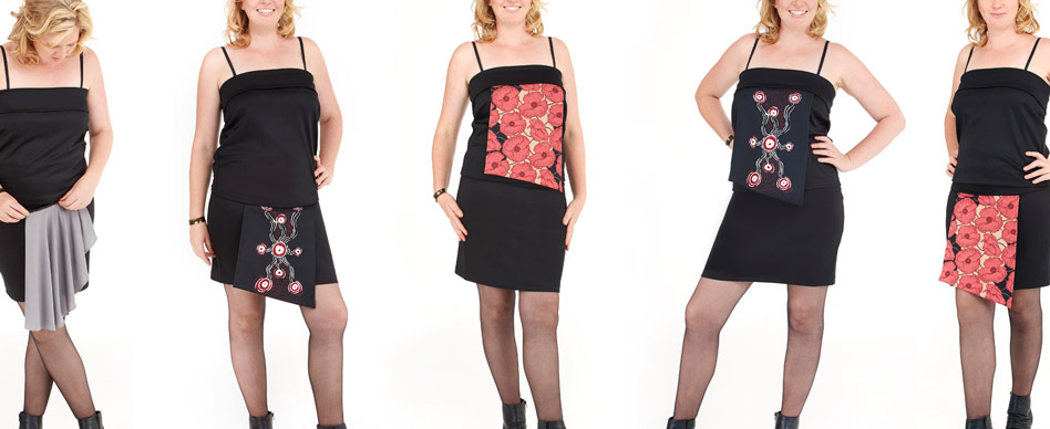 1 skirt + zip-on panels (which also doubles as a stylish strapless top)…. Zippy Skirt is the little black skirt that every female traveler needs.