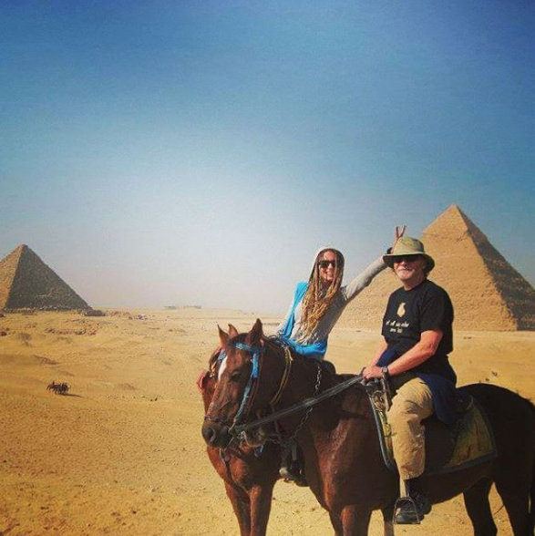 Dad and me at the Pyramids of Giza.