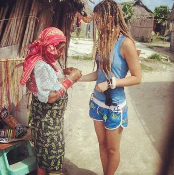 Receiving a bracelet on the San Blas Islands, Panama