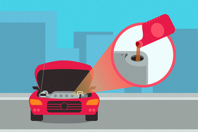 An illustration showing the oil being changed in a car