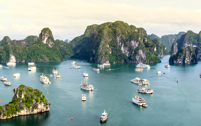 If you want to enjoy the most spellbinding sea views, head towards Halong Bay.