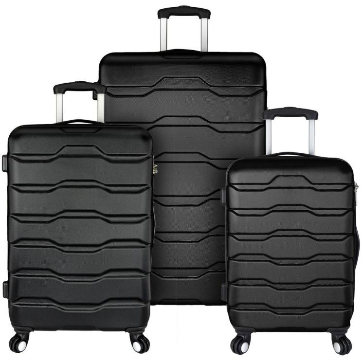 Omni 3-Piece Hardside Spinner Luggage Set, Black