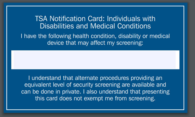 TSA medical notification card
