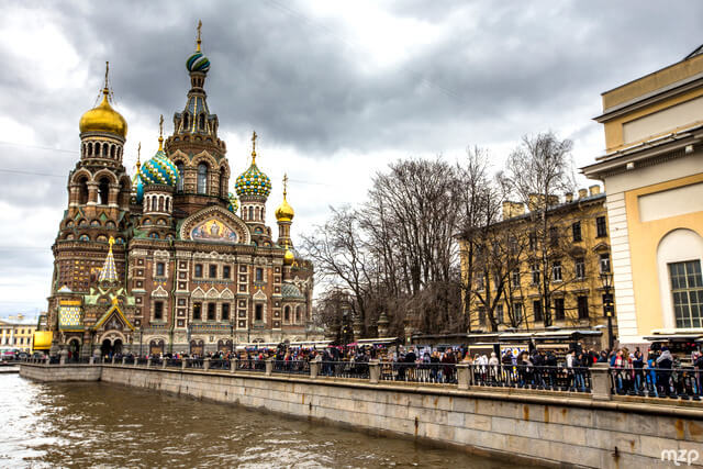 Clouds over the Church of our savior on spilled blood.