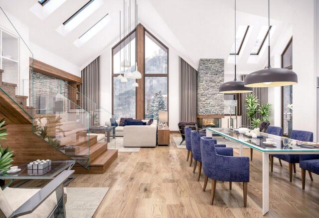 Ski chalet house home interior apartment hotel RF