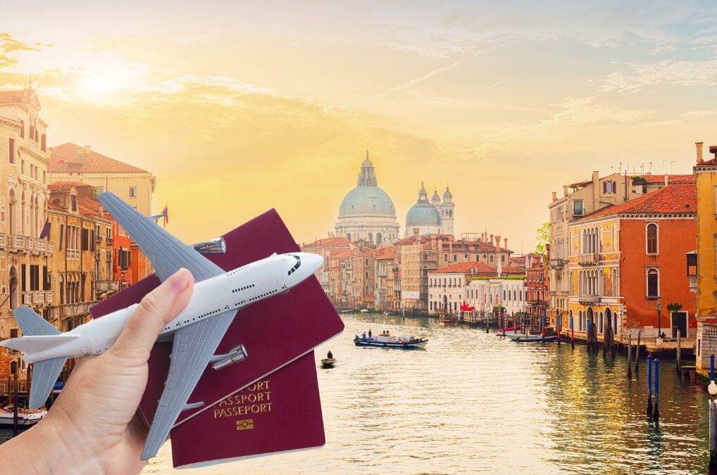 Travel plane passport Venice Italy RF