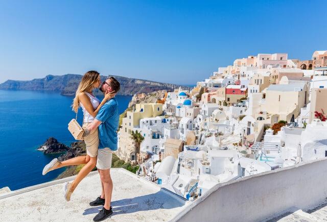 Santorini Couple Kiss Love RF