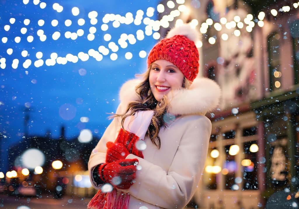 Christmas snow female traveler RF