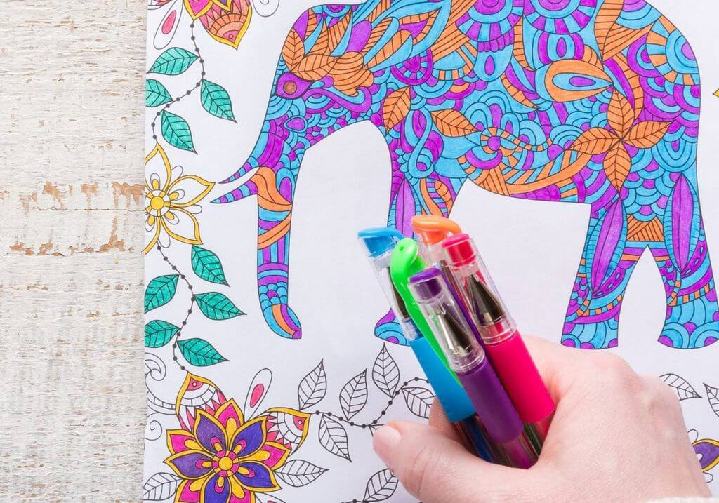 Adult elephant coloring in book