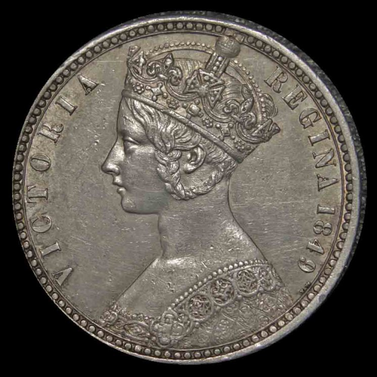 Queen Victoria Godless Florin Obverse 1849 British United Kingdom