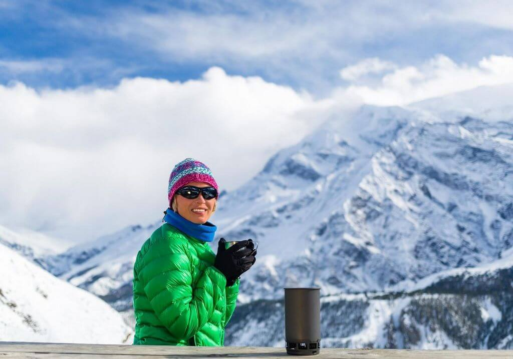 Mountains snow drinking camper woman female cold RF