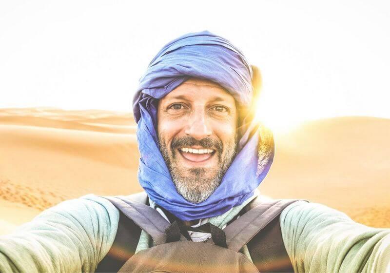 Safari desert solo traveler man RF