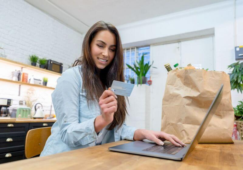 Online grocery shopping credit card RF