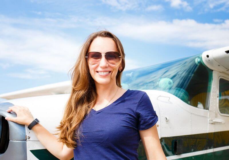 Female traveler plane flying RF