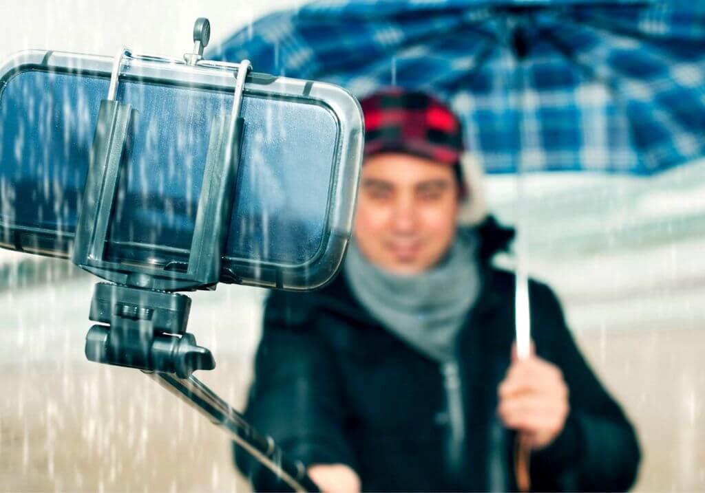 Selfie phone rain umbrella