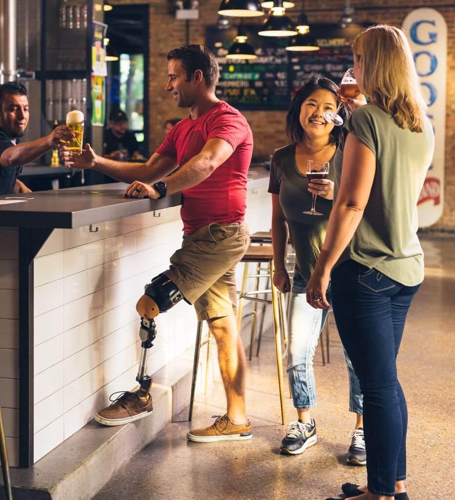 prosthetic leg bar beer drinks disabled RF