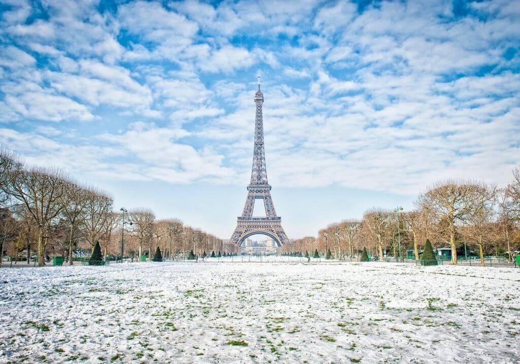 Eiffel Tower Paris winter snow RF