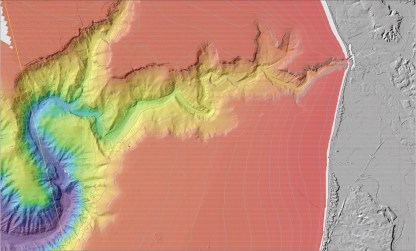 Bathymetry of Monterey Canyon and the Soquel Canyon tributary