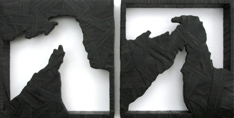 """Gregor Turk, Choke: Hormuz- Land (left) & Water (right). 