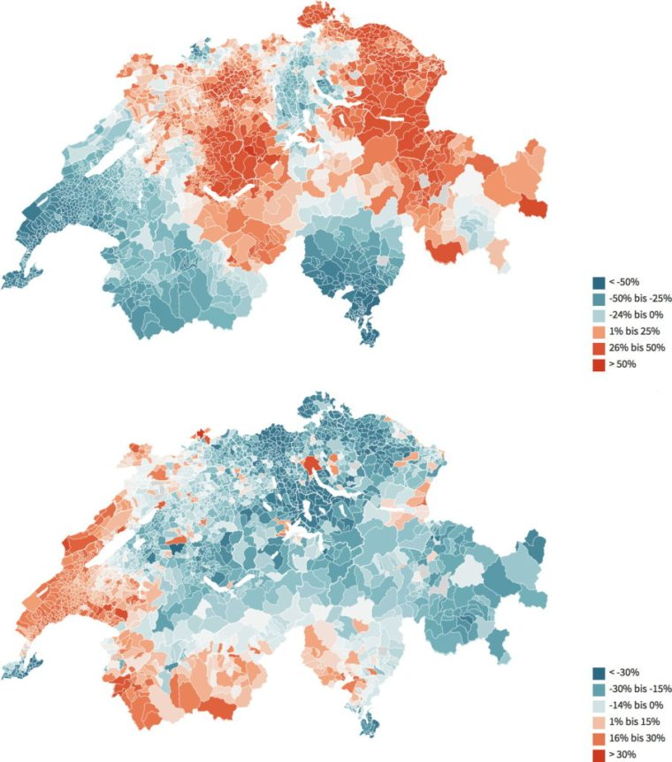 Maps of mortality due to diabetes (top) and liver disease (bottom) in Switzerland. Tages Anzeiger, 6 March 2016.