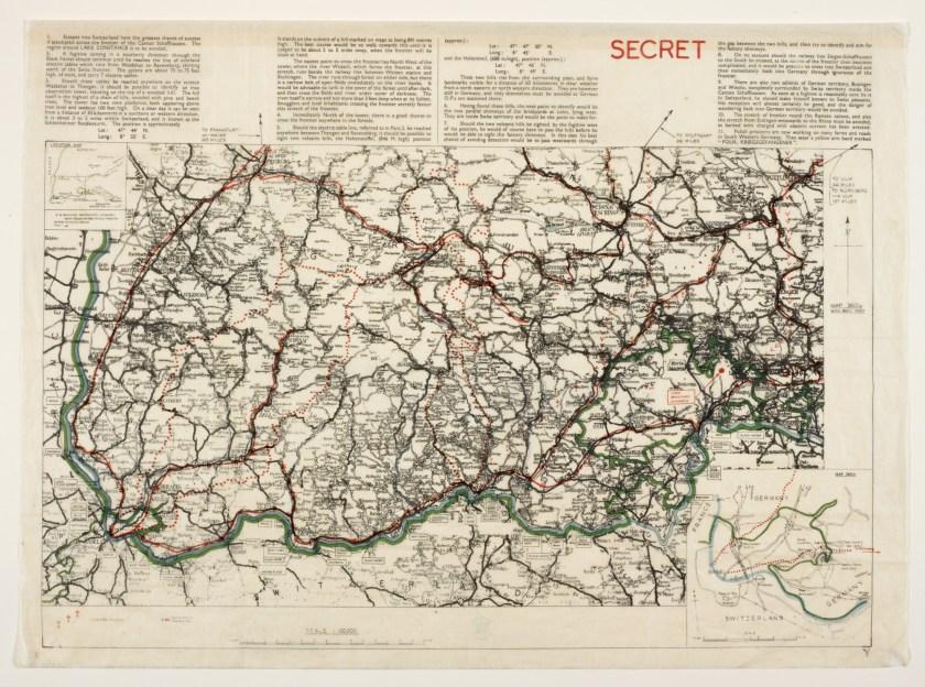Schaffhausen Airey Neave escape map. The War Office, 1940. British Library.