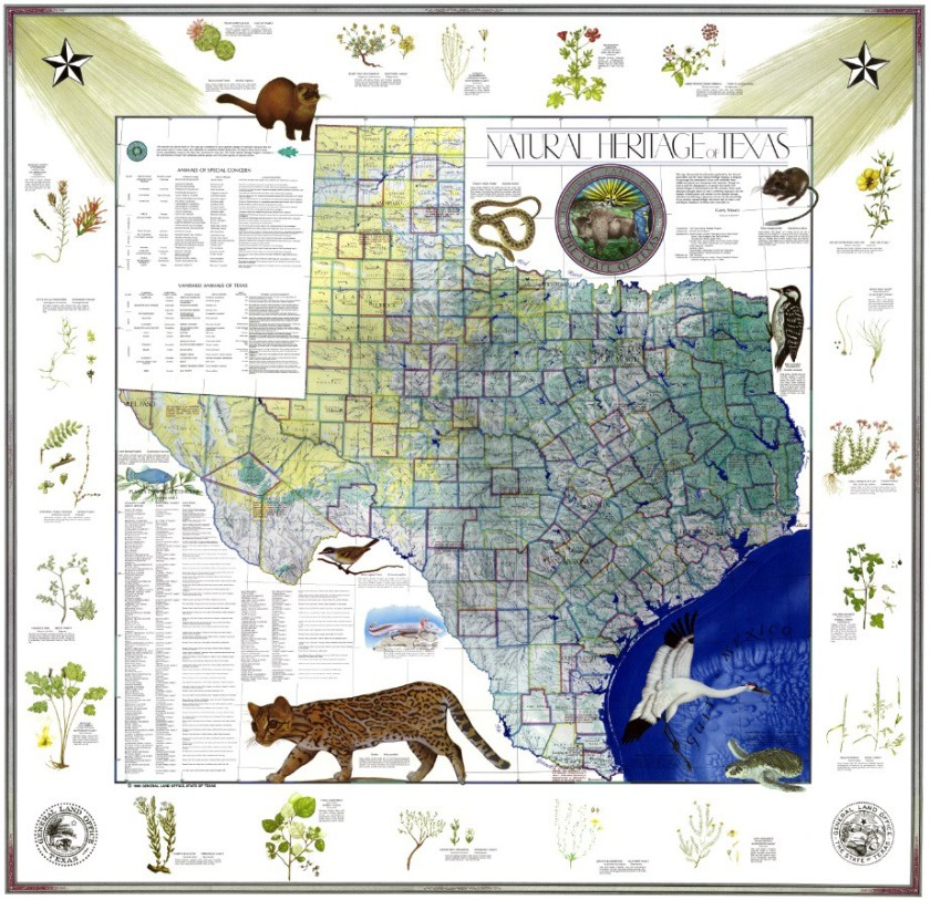 Natural Heritage of Texas, 1986. Map, 54.8″×56.4″. Map #10786, Map Collection, Archives and Records Program, Texas General Land Office, Austin, TX.