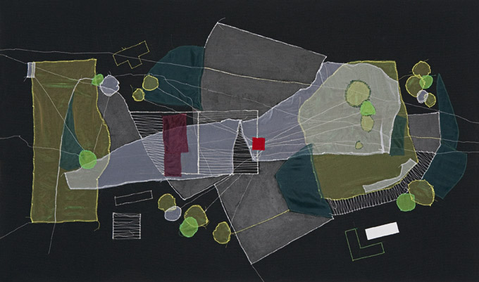 "Christine Gedeon, ""OSH, Brooklyn (Plot re-visualized),"" 2012. Fabric, thread and paint on raw black canvas, 54″×32″."