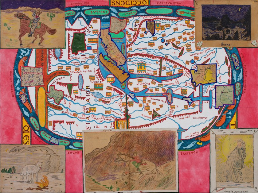 Joyce kozloff red states blue states 2017 acrylic and collage on canvas 36x48″