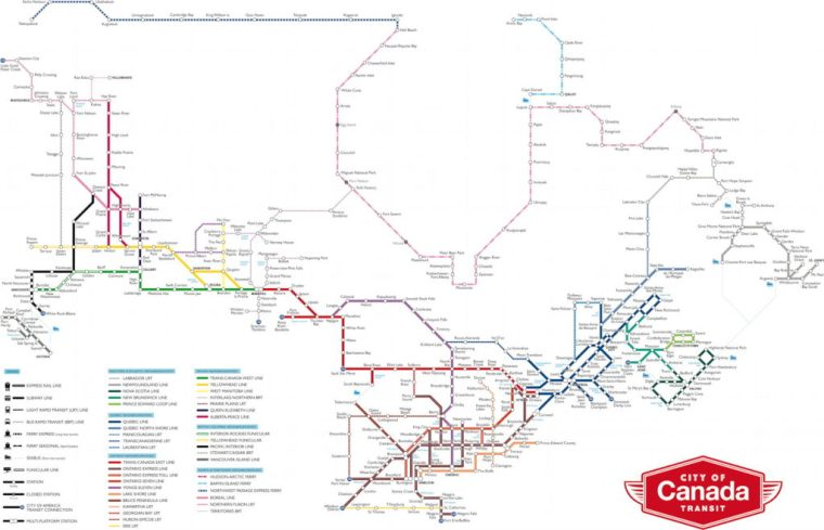 Matthew Blackett Canada Map Matthew Blackett's Transit Map of Canada – The Map Room