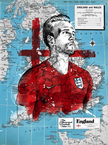 """Harry Kane--England,"" from Michael Raisch, The Illustrated Football Atlas, 2018."
