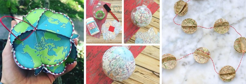 DIY map ornaments (mosaic)