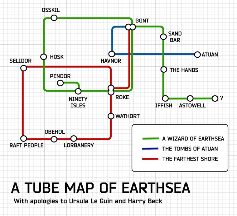 A Tube Map of Earthsea (Camestros Felapton)