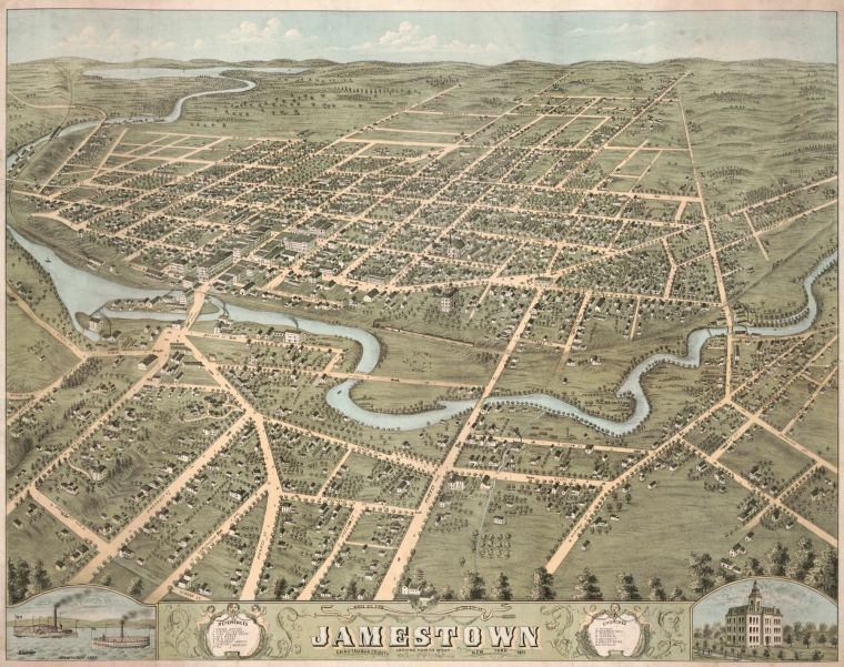Bird's eye view of the city of Jamestown, Chautauqua County, New York