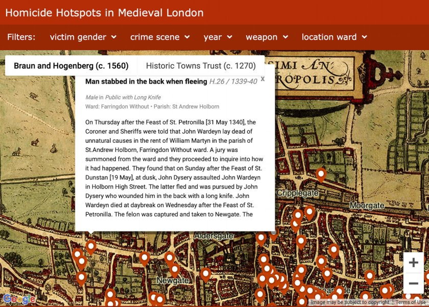 London Medieval Murder Map