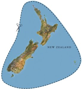 Last Week Tonight cutout New Zealand map