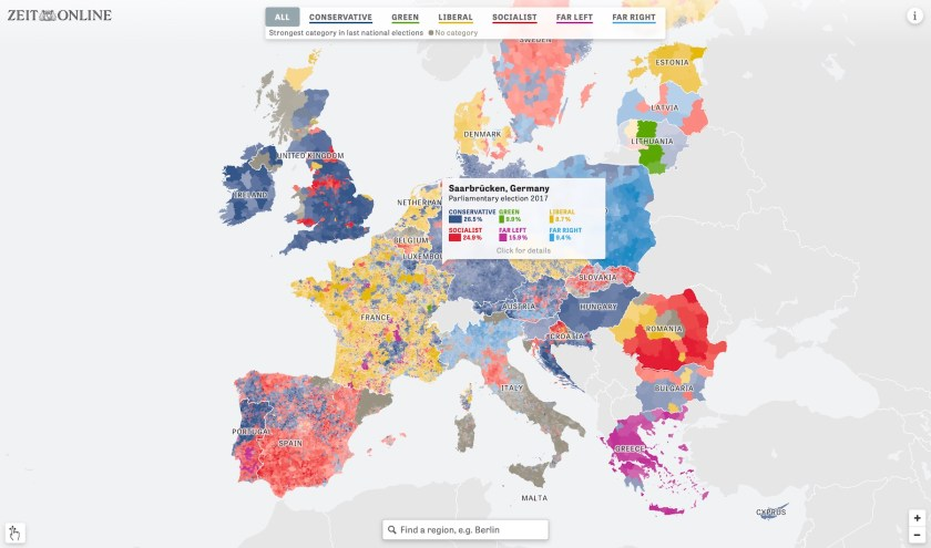 Map of European voting patterns