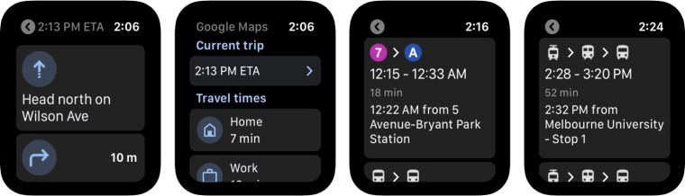 Google Maps on the Apple Watch (screenshot)